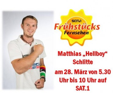"Matthias Schlitte on Friday at one of the most successful European morningshows the ""SAT.1-Frühstücksfernsehen"" on channel SAT.1."