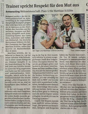 Newspaper about my performance at the WAF WORLDCHAMPIONSHIPS from today.