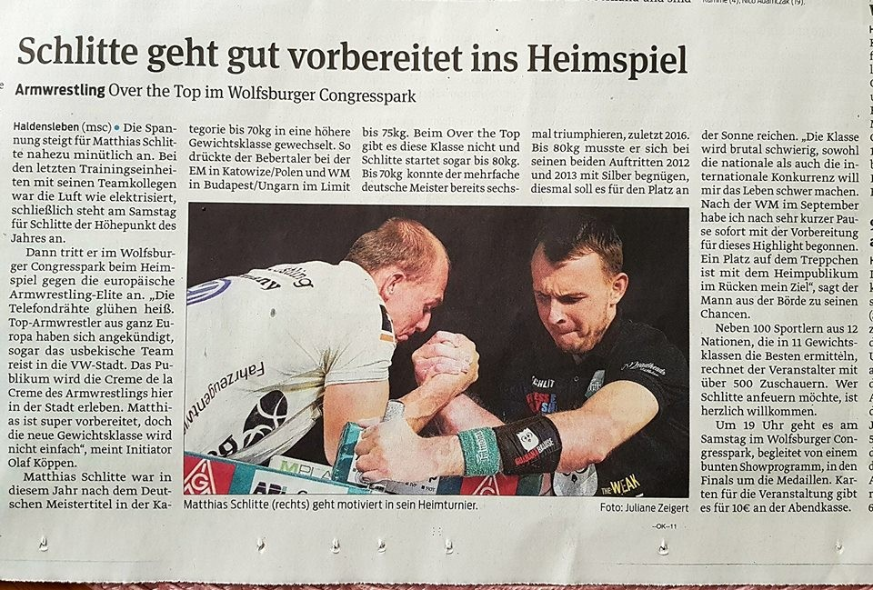 Newspaper of today: Schlitte is well prepared for his tournament